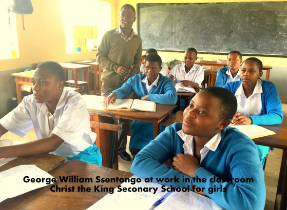 George William Ssentongo in his classroomx